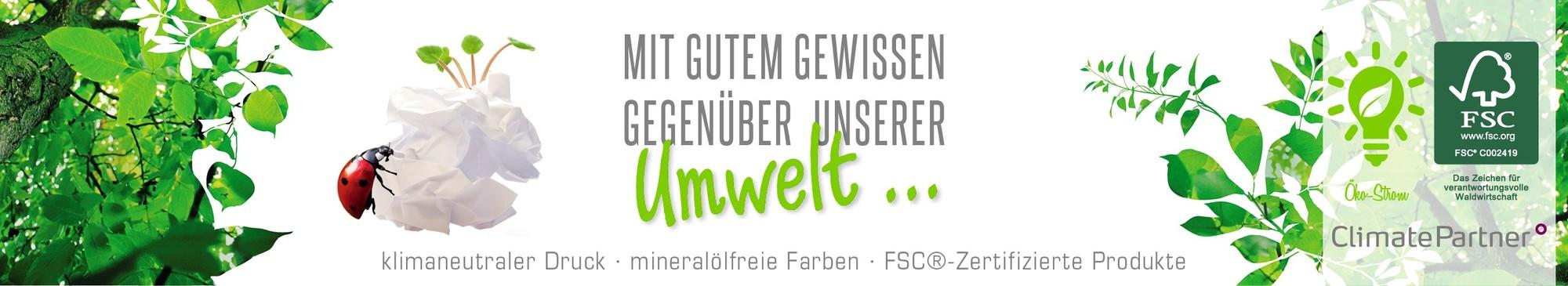 Onlinedruckerei mit klimaneutraler Druck mineralölfreie Farben FSC Zertifizierung
